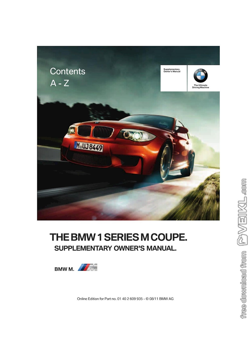 BMW 1 Series M Coupe Supplementary Owner's manual 2012 EN