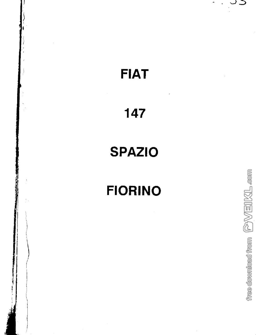 Fiat 147 Fiorino 1st Series Technical Workshop Manual 1992