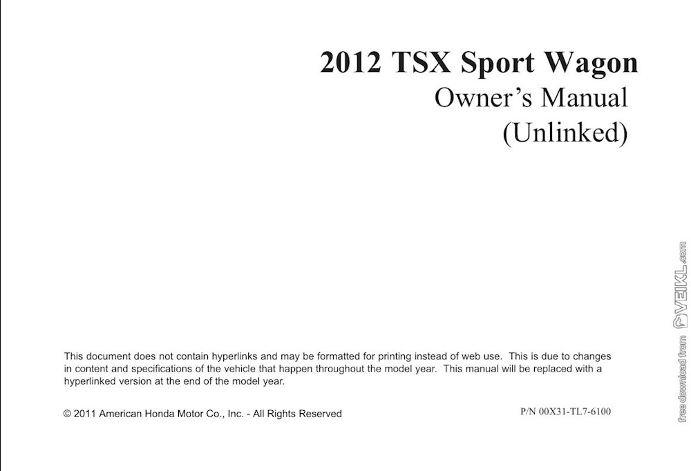 Acura TSX Sport Wagon Owner's manual 2012 EN