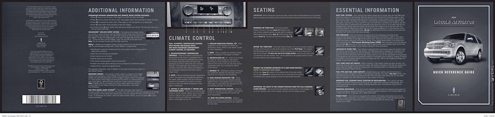 Lincoln Navigator Quick Reference Guide 2012 EN
