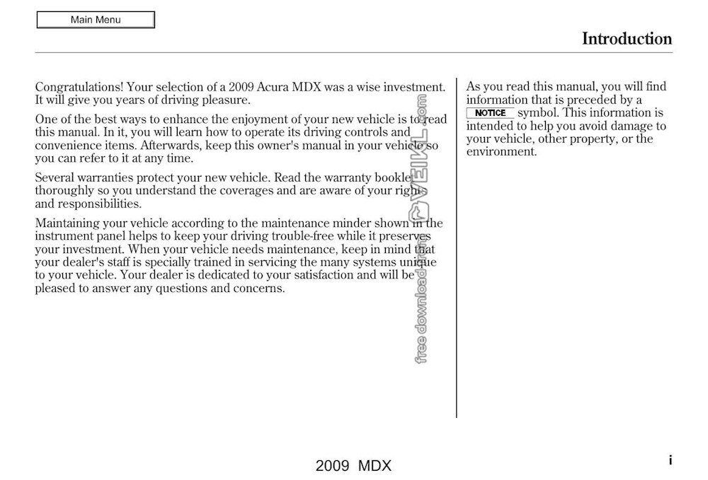 Acura MDX Owner's manual 2009 EN