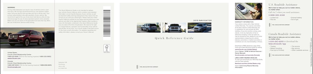 Lincoln Navigator Quick Reference Guide 2019 EN