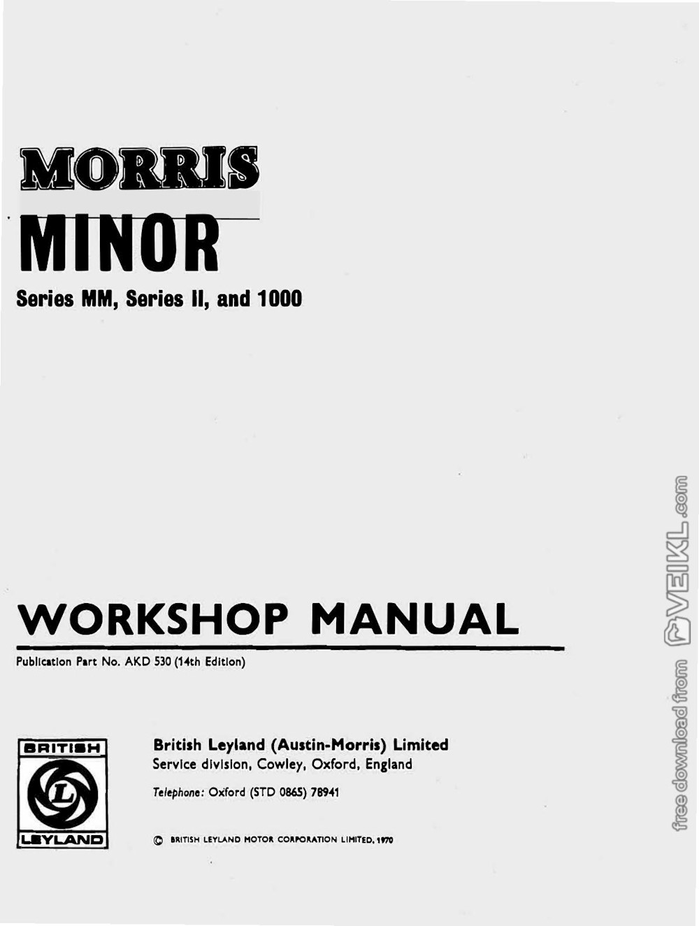 Morris Minor Series MM, Series Il, and 1000 Workshop Manual 1970 EN