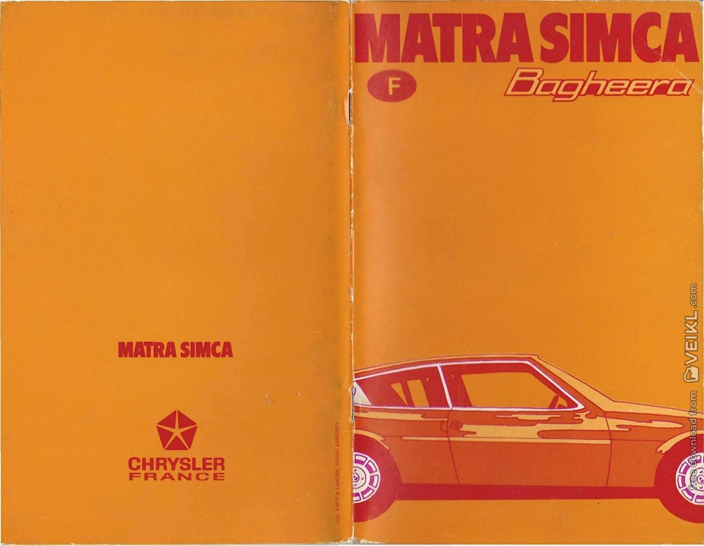 Matra-Simca Bagheera Owner's manual 1973 FR