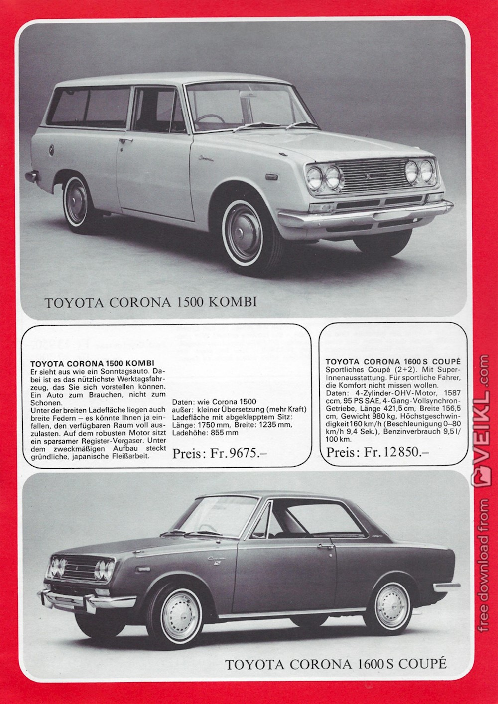 Toyota Corolla / Corona / Crown Brochure Price list 1968 DE