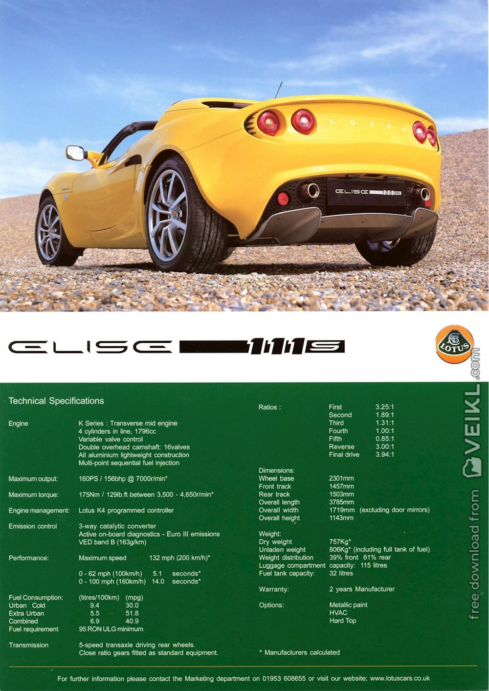 Lotus Elise 111S Brochure UK 2002 EN