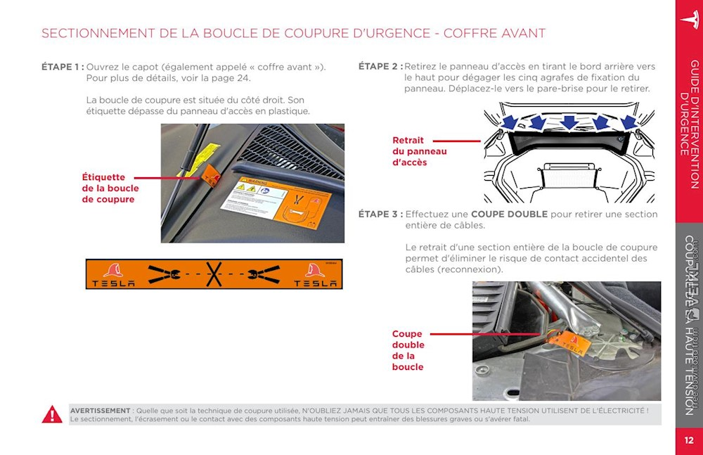 Tesla Dual Motor Model S Emergency Response Guide 2014-2015 France