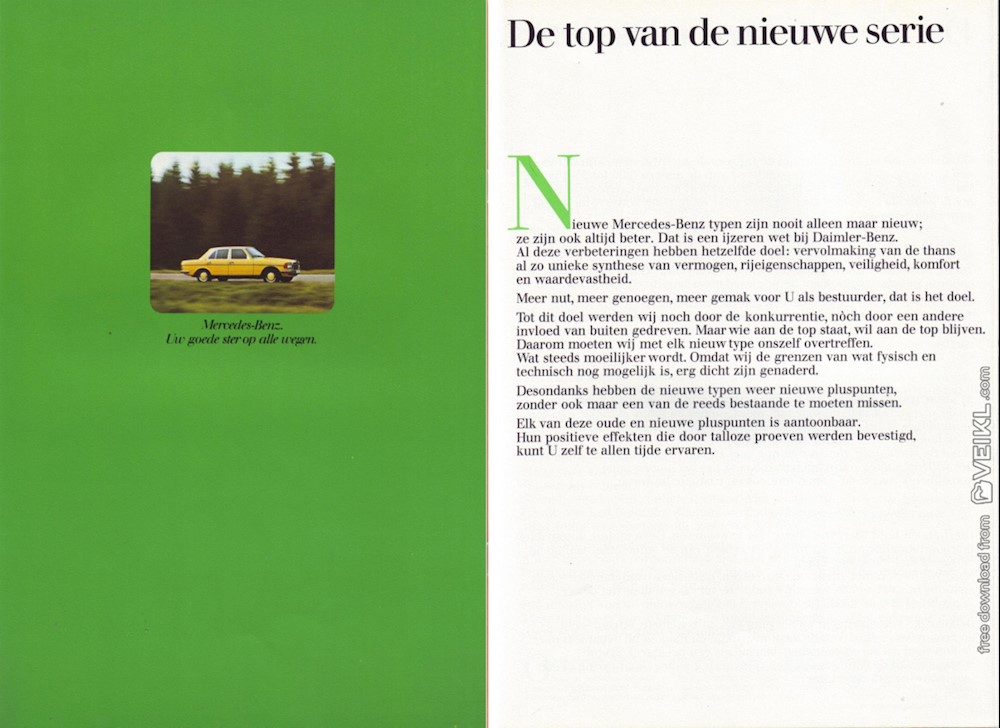 Mercedes Benz W123 280 & 280E Brochure 1977 NL