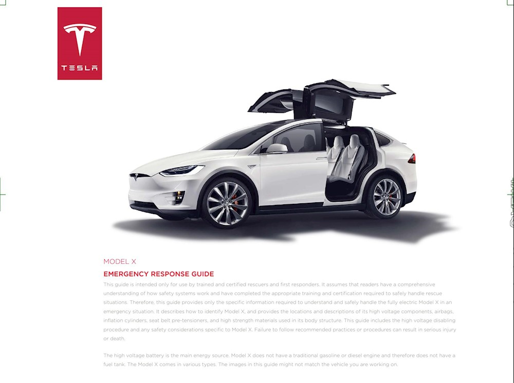 Tesla Model X Emergency Response Guide 2016 EN