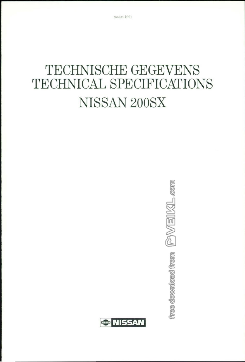 Nissan 200SX Technical Tech Specs 1991 NL