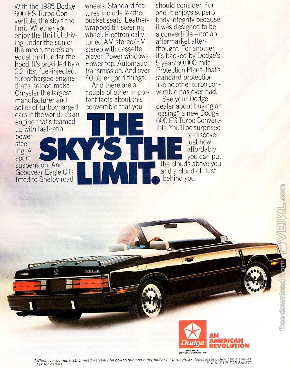 Dodge 600 Convertible Advertisement 1985 EN