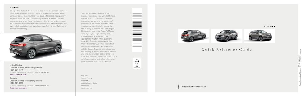 Lincoln MKX Quick Reference Guide 2017 EN