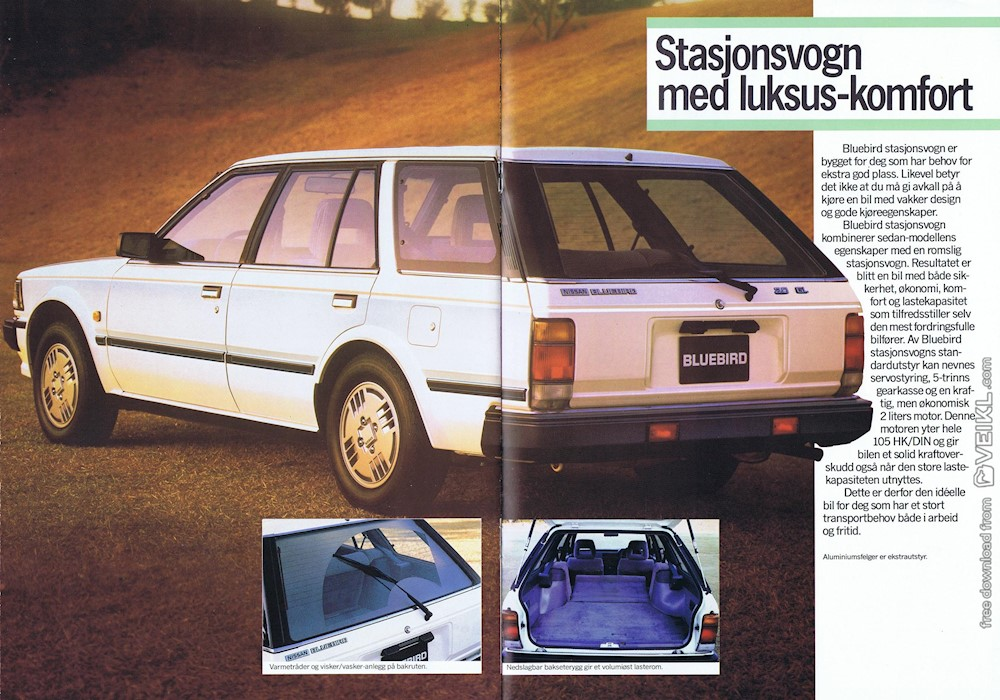 Nissan Bluebird Sedan / Stasjonsvogn Brochure 1986 NO