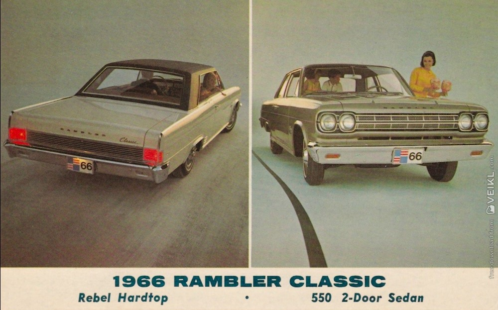 Rambler Classic 550 2-door Sedan Rebel Hardtop Postcard 1966 EN 1