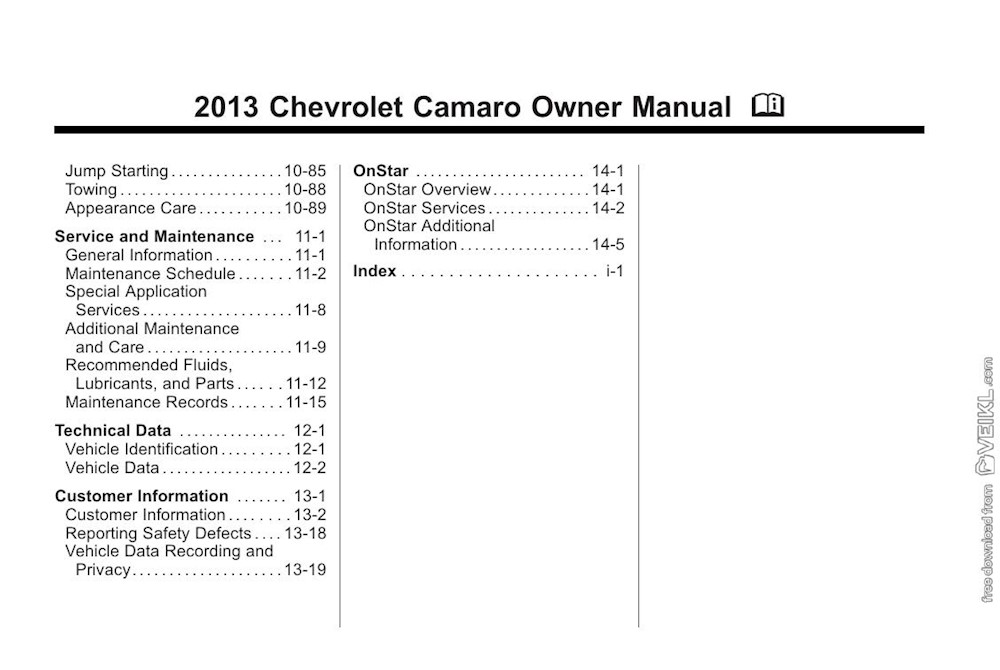 Chevrolet Camaro Owner's manual 2013 EN