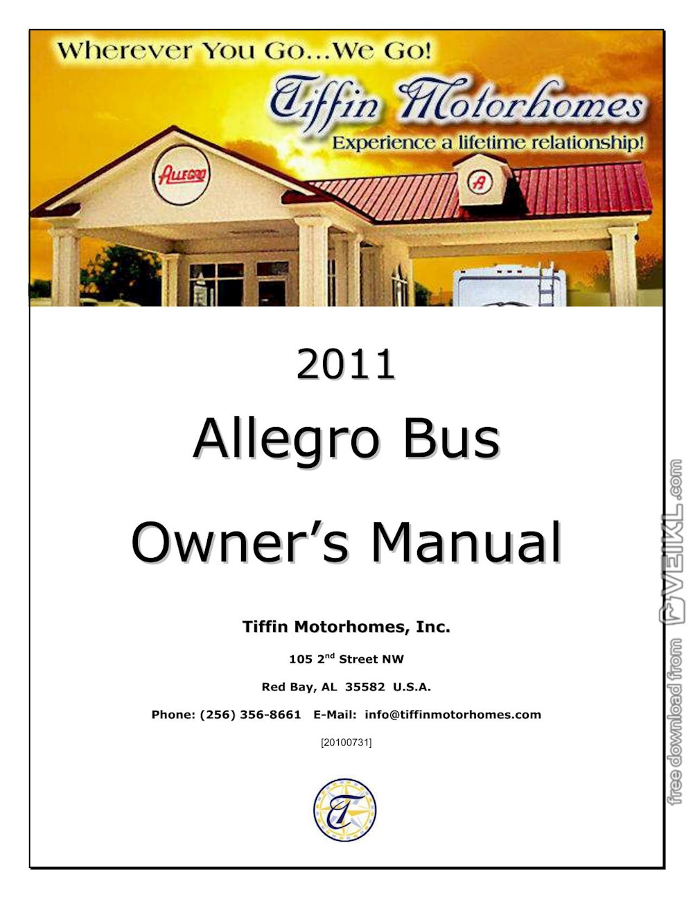 Tiffin Motorhomes Allegro Bus Owner's manual 2011 EN