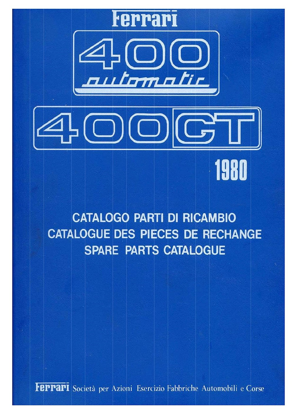 Ferrari 400 Technical Spare Parts 1980 EN FR IT