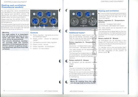 Volkswagen T5 Transporter Owner's manual Controls and